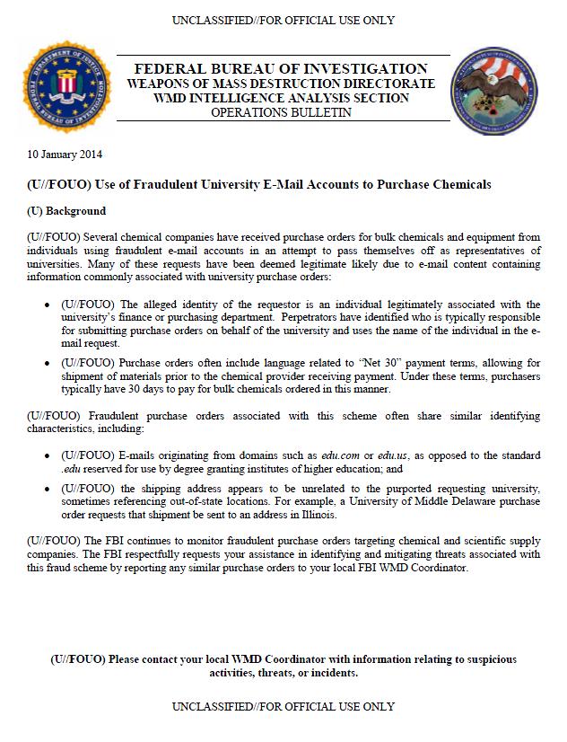 U//FOUO) FBI Bulletin: Use of Fraudulent University E-Mail ...