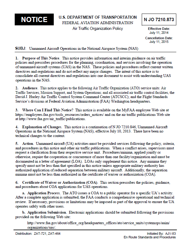 Faa order unmanned aircraft operations in the national airspace fas uas nas publicscrutiny Choice Image