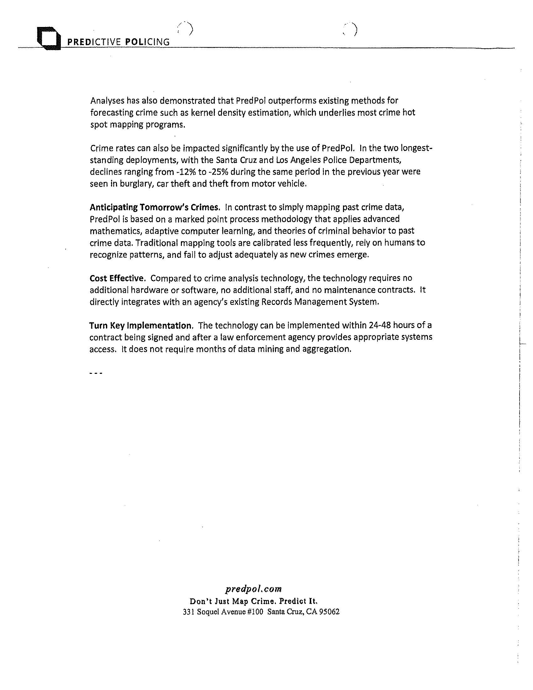 Modesto Police Department Correspondence with Predictive
