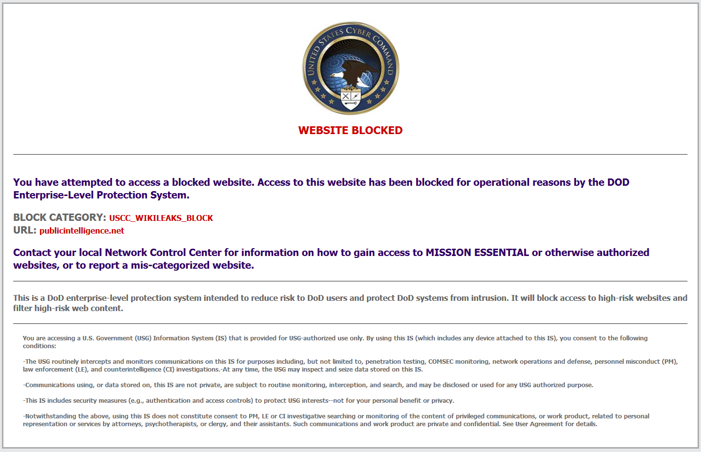 Us cyber command blocking public intelligence and nearly 2500 public intelligence blocked ccuart Choice Image