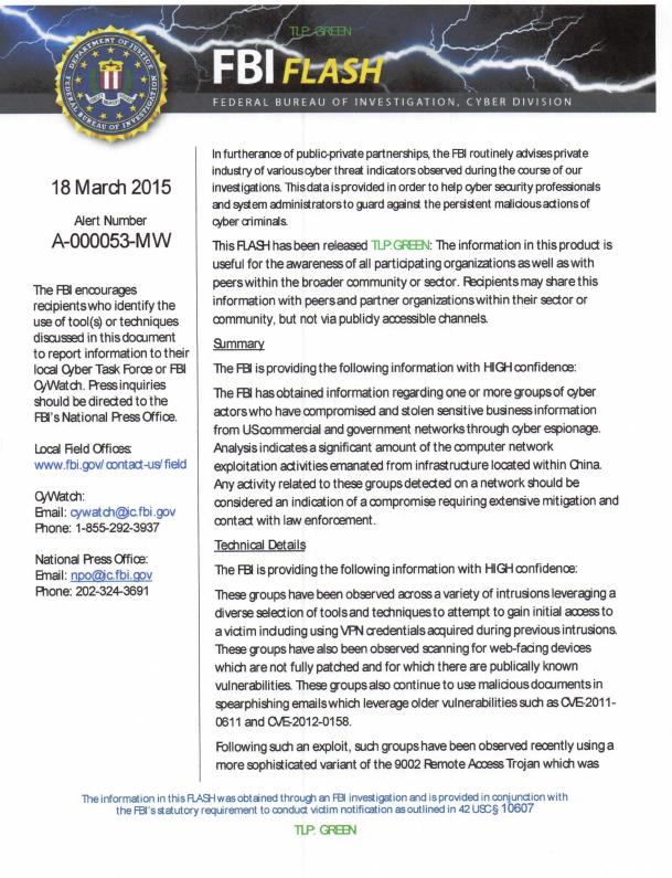 FBI-ChinaCyberEspionage