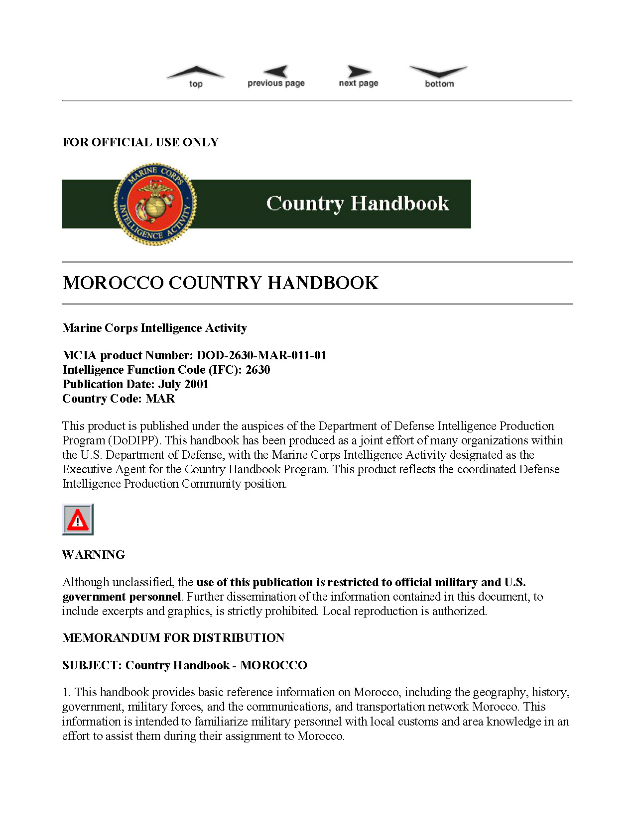Marine Corps Intelligence Activity Morocco Country Handbook ...