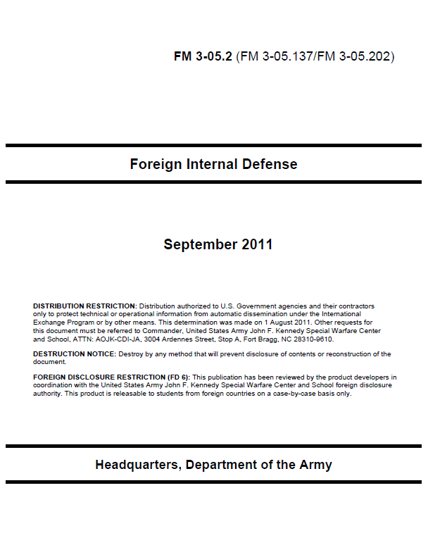Restricted Us Army Foreign Internal Defense Manual Public