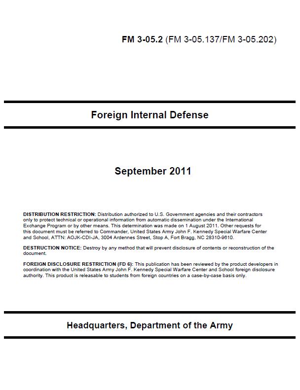 restricted u s army foreign internal defense manual public rh publicintelligence net Department of Commerce Logo Department of Commerce Logo