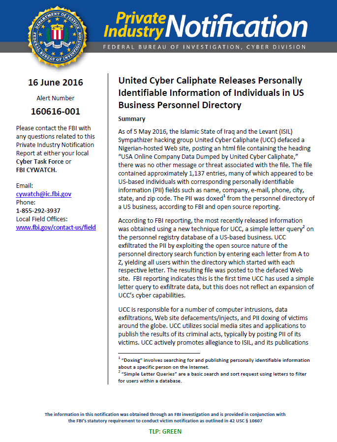 FBI Cyber Bulletin: United Cyber Caliphate Releases PII of