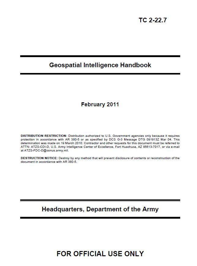Tc 2 22 7 Geospatial Intelligence Handbook