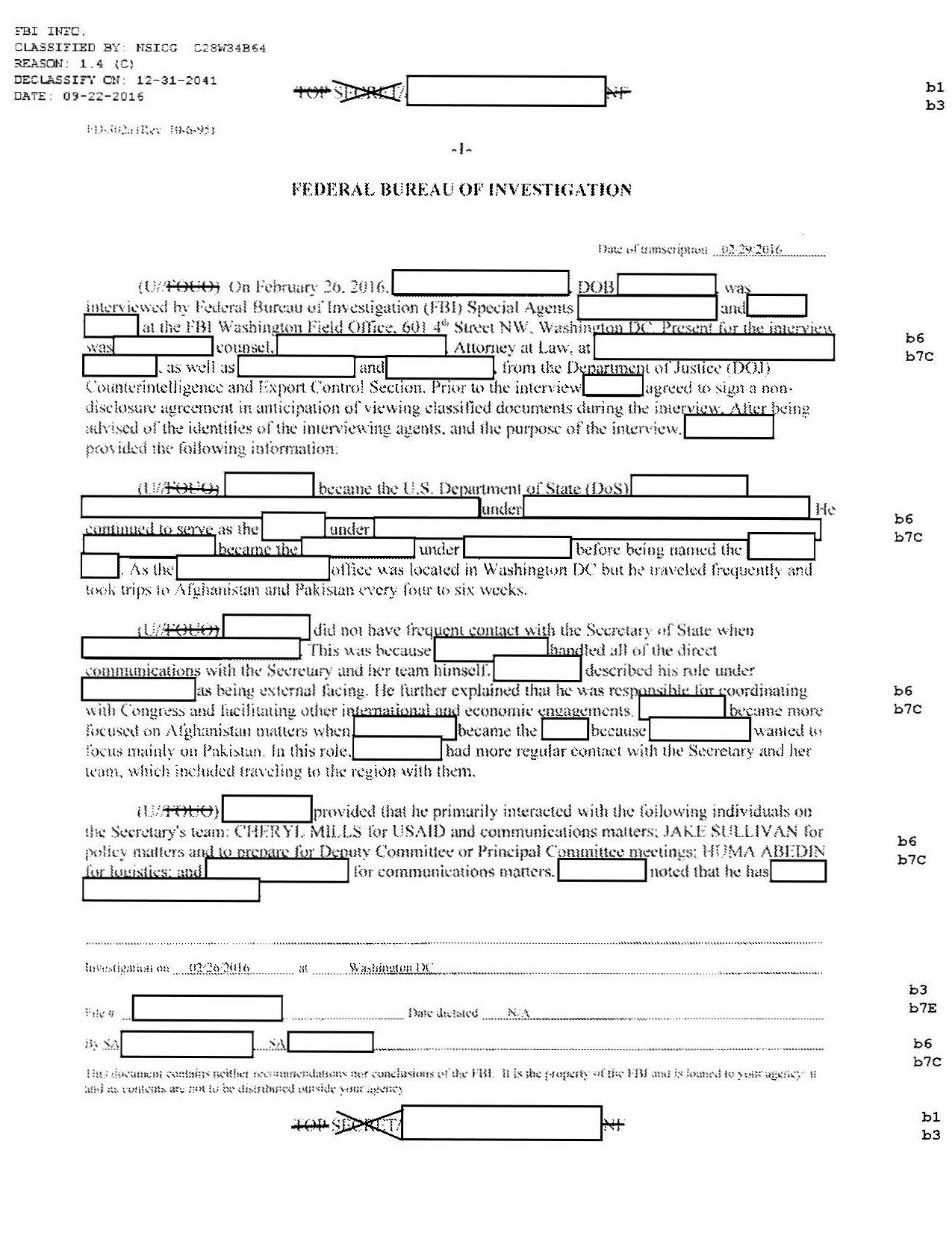 fbi interview notes from hillary clinton e mail investigation for