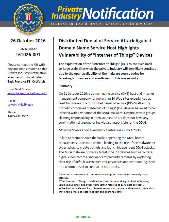 FBI Cyber Bulletin: Denial of Service Attack Against DNS Host