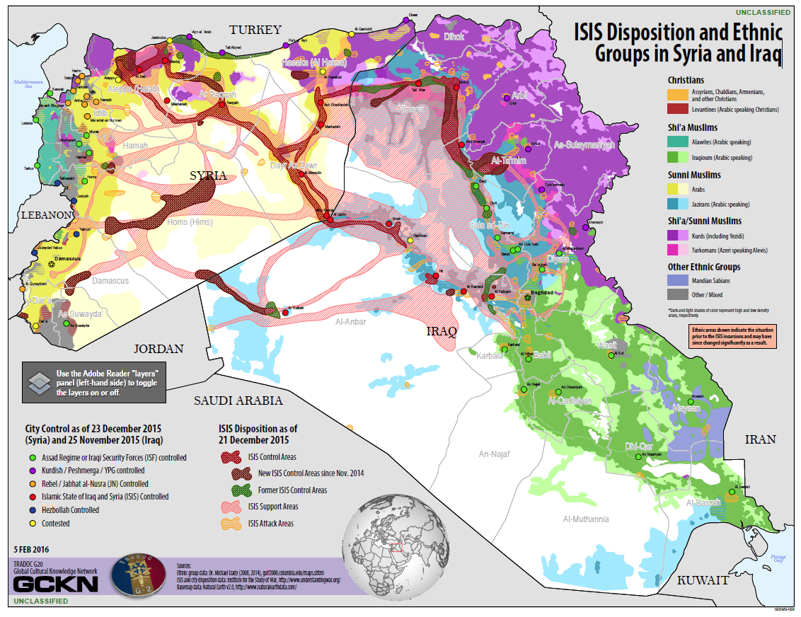 US Army Map ISIS Disposition And Ethnic Groups In Syria And - Us map by ethnicity
