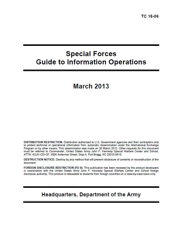 Restricted U S  Army Special Forces Guide to Information