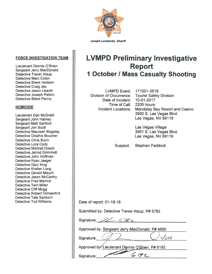 Las Vegas Metropolitan Police Department October 2017 Mass