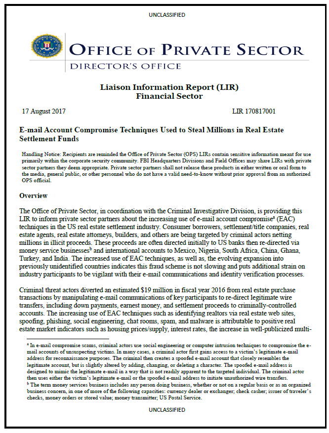 FBI Report: E-mail Account Compromise Techniques Used to