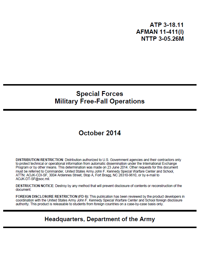Restricted U S  Army Special Forces Military Free-Fall Operations